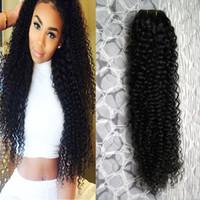 Afro kinky bouclés Cheveux naturels brésiliens bouclés vierge de cheveux humains armure 1 pcs / lot double trame qualité, pas de rejet, sans enchevêtrement