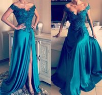 Custom made off shoulder applique beaded zipper back prom dr...