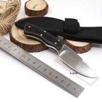 작은 스트레이트 나이프 야외 고정 사냥 칼 440 블레이드 나무 손잡이 캠핑 포켓 서바이벌 나이프 EDC 멀티 도구 최고의 선물 ZP-MI101