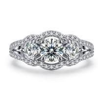 10k vitguldfyllning rundklippt lad diamant kvadratisk halo förlovningsring 2,00 ct