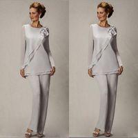 Zarif Artı Boyutu Gümüş anne Pantolon Suit Anne Gelin Damat Boncuklu Şifon Düğün Parti Abiye giyim Balo Elbise Için BA2466