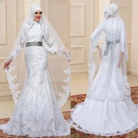 새로운 두바이 아랍어 이슬람 웨딩 드레스 흰 레이스 높은 목 긴 소매 인어 신부 드레스는 Longe 베일을 포함