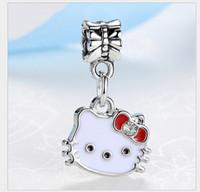 8d2e57bc3 Fits Pandora Bracelets 30pc Hello Kitty Enamel Silver Charm Beads Chamilia  Charms For Wholesale Diy European Necklace Snake Chain Bracelet