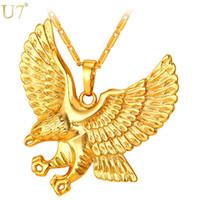 Neue Goldadler Halskette Männer Schmuck Trendy Platin / 18 Karat vergoldet Tier Hawk Wing Charm Anhänger Halskette Großhandel P820