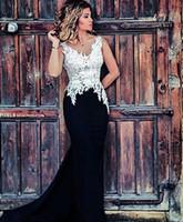 2016 Sexy Backless Vestidos de Festa À Noite Lace Appliqued Sereia Vestidos de baile vestido para formatura Preto Branco Vestidos de Formatura vestidos