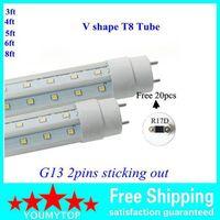 T8 LED 튜브 V 자형 3FT 4FT 5FT 6FT 8FT G13 / R17D 튜브 양면 SMD2835 형광등 AC 85-265V