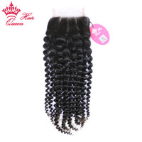 Queen Hair Products Top Quality Lace Closure Brazilian Virgin Human Hair Kinky Curly Free Part 10inch to 20inch 8A Grade in Store Fast Shipping