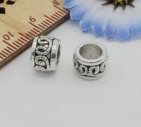 200pcs tibétain argent gros trou entretoises perles pour la fabrication de bijoux 6.5x9mm