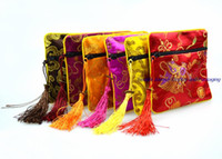 """50pcs 4 1/2 """"Piazza cinese sacchetto di gioielli in seta display sacchetto di imballaggio cerniera regalo di favore del partito di nozze borsa"""