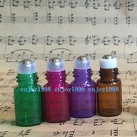 مزيج 4 ألوان 2CC زجاجات من الضروري النفط والزجاج الأسطوانة مصغرة صغيرة إعادة الملء الزجاج الخالي لفة على زجاجات قوارير زجاجات معدنية رولربال جرة (2ML)