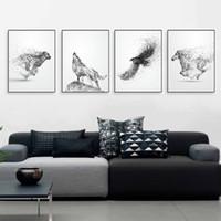 Noir Blanc Encre Sauvage Animal Cheval Aigle Loup Affiche Nordique Salon Mur A4 Art Imprimer Image Accueil Déco Toile Peinture No Frame