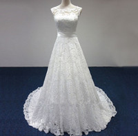 Cap Sleeves Lace A Line White Ivory Wedding Dress 2018 Court...