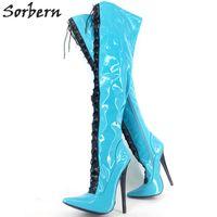 Mélanger la couleur des bottes à talons hauts 18cm Sexy sur le genou longues bottes Mode solide à glissière des dames chaussures en cuir pointu fétichisme des chaussures