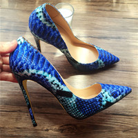 Women High Heels Snake Printed Shoes Pumps Lady Sexy Pointed...