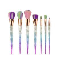 7шт / компл Pro макияж кисти Set Foundation Blending Powder Eyeshadow Контур Консилер Румяна кисть Dimond дизайн красочной