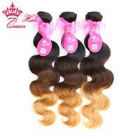 Queen Hair Ombre Extensions de Cheveux Brésiliens Body Wave 3 Tone # 1b / # 4 / # 27 Remy Armure de Cheveux Humains 3pcs / Lot