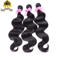Gratis frakt!! Grossist obearbetade 100 mänskliga hårförlängningar malaysiska indiska peruanska hår kroppsvåg hår väv