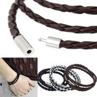 Großhandel-2016 neue Mode heißer Verkauf Womens Herren Schwarz Leder Interlaced Manschette Armband Armband Armband 7 Farben Drop Shipping