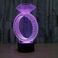 HR-2816 Удивительные 3D Illusion Настольная лампа Night Light с бриллиантовое кольцо Форма Детская комната Deco лампа 7 Цвет Свет с USB Line