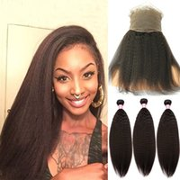 Mongolian Kinky Straight With 360 Lace Frontal Coarse Yaki H...