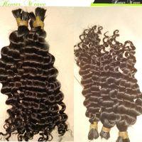 Raw peruana massa cabelo solto Curly Virgin não transformados Humano tranças do cabelo 4pcs / lot Luffy Menina da natureza