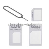 4 in 1 adattatore Noosy Nano Micro SIM espelle il Pin per il telefono astuto del telefono cellulare SIM scatola al minuto Samsung