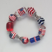 500pcs/lot, Fashion Vintage Design USA flag Beaded Strands Bracelets Bangles for Man Women Jewelry Gift, free and fast express delivery
