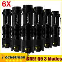 6PCS lot CREE LED Torch MINI Q5 LED Flashlight 7W 2000LM Adj...