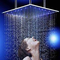 """24 """"큰 비 샤워 폭포 LED 천장 마운트 샤워 헤드 욕실 액세서리 패션 디자인 600x600mm"""