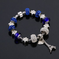 Горячие продажи 925 серебряный браслет, Эйфелева башня и стиль любви оптом европейские шармы шармы подходят для мужчин / женщин Pandora браслеты
