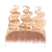 Новое прибытие 9А человеческих волос уха до уха полный кружева Frontals мед блондинка чистый цвет #27 объемная волна волнистые кружева фронтальная 13x4For женщина