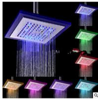 """직경 8 """"인치 20cm RGB LED 빛 스테인리스 강우 비 화장실 샤워 헤드, 물 저장 강우 욕실"""
