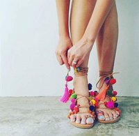 Bohemia Style Fringed Pompoms Lady Gladiator Sandals Shoes C...