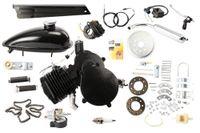 العلامة التجارية الجديدة 80cc 2 السكتة الدماغية دورة دراجة دراجة بمحركات الغاز كيت الأسود موتور كروم كاتم الصوت