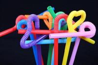 Atacado-600pcs Frete Grátis Plástico Descartável Coca-Cola palha Palhas coloridas Arte Modelagem Tea Crazy Palhas