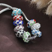Fashione !!! 8 Renkler Yeni 10mm Rhinestone Kristal Yuvarlak Big Hole Boncuk Fit Avrupa Charm Bilezik Takı DIY