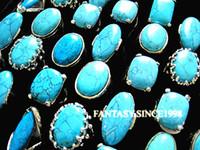 새로운 25pcs 혼합 스타일 여성 청록색 금속 합금 빈티지 레트로 보석 반지 도매 대량 제비