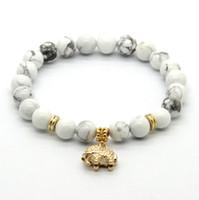 Regalo fortunato del partito dei braccialetti fortunati di fascino dell'elefante placcato oro reale 8mm all'ingrosso 10ps / lot 8mm