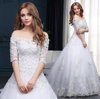 Свадебное платье Очаровательная Bateauty Bridal Viel Princess Off Flush Свадебные платья свадебные платья с Sash Bow Sweep Train Custom Made BD04