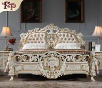 Barocke klassische Schlafzimmermöbel - Luxusbett für Könige - italienisches Massivholzbett