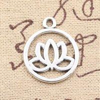 Прелести цветок лотоса 20 мм античный делая кулон fit,старинные Тибетского серебра,DIY браслет ожерелье