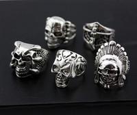 оптом смешанные лоты 36 шт. Череп мужской панк стиль металлический сплав ювелирных украшений кольца большие размеры новый