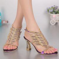 Mor Rhinestone Yüksek topuklu Sandalet Kadın Elmas Ayakkabı Kadın Burnu açık Yaz Ayakkabı Gelin Düğün Sandalet Artı Boyutu