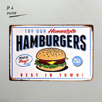 DL- TIN SIGN Hamburgers Metal Decor Wall Art Farm Store Kitch...