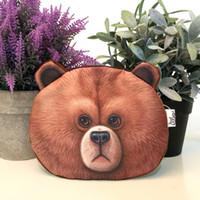Nouveau Style Porte-Monnaies Mignon 3D Imprimer ROWN BEAR tête Panda Lapin Animaux Porte-Monnaie Changer Sacs À Main Sac À Main Sac