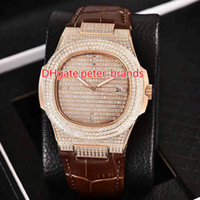 Automatic 2813 full iced out watch rose gold case with leath...