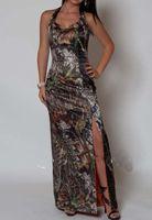 2016 Sexy Neckholder Meerjungfrau Schlitz Camo Prom Kleider Camouflage Lange Abendgesellschaft Kleider Formales Kleid Lace Up
