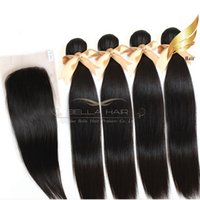 Brazilian Human Hair Weft 4PCS with 1PC Top Closures Silky S...