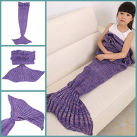 New Hot Enfants Yarn tricotée Mermaid Tail Blanket Handmade Crochet Mermaid Blanket Throw Canapé-lit Wrap Sac de couchage