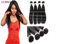 8A 4 Demetleri 8-28 inç Brezilyalı Bakire Ipek Düz Saç Işlenmemiş İnsan Saç Uzantıları Çift Örgü Atkı Kalın